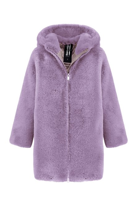 Coat in faux dur with hood