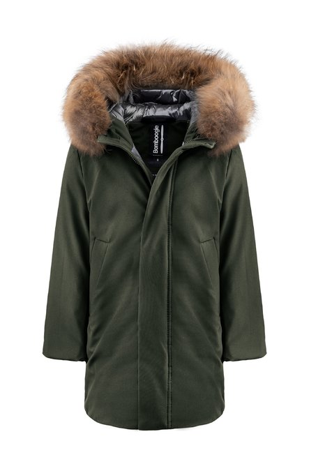 Parka in tecno material with fur hood