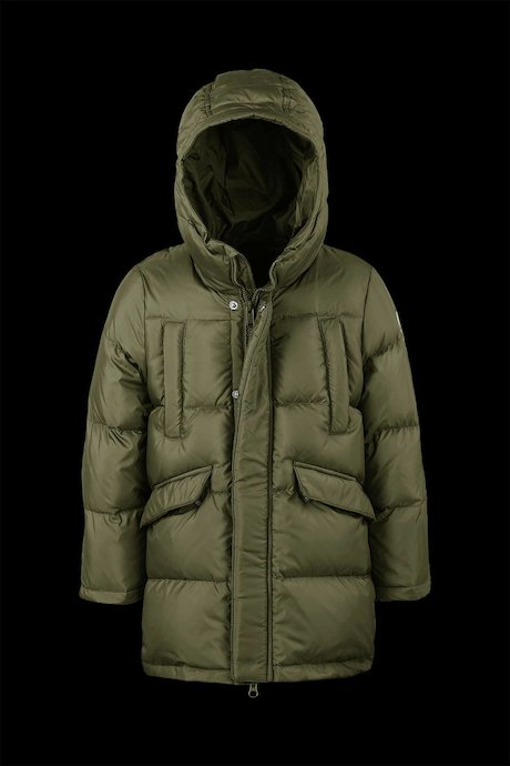 Medium Shiny Down Jacket with Hood