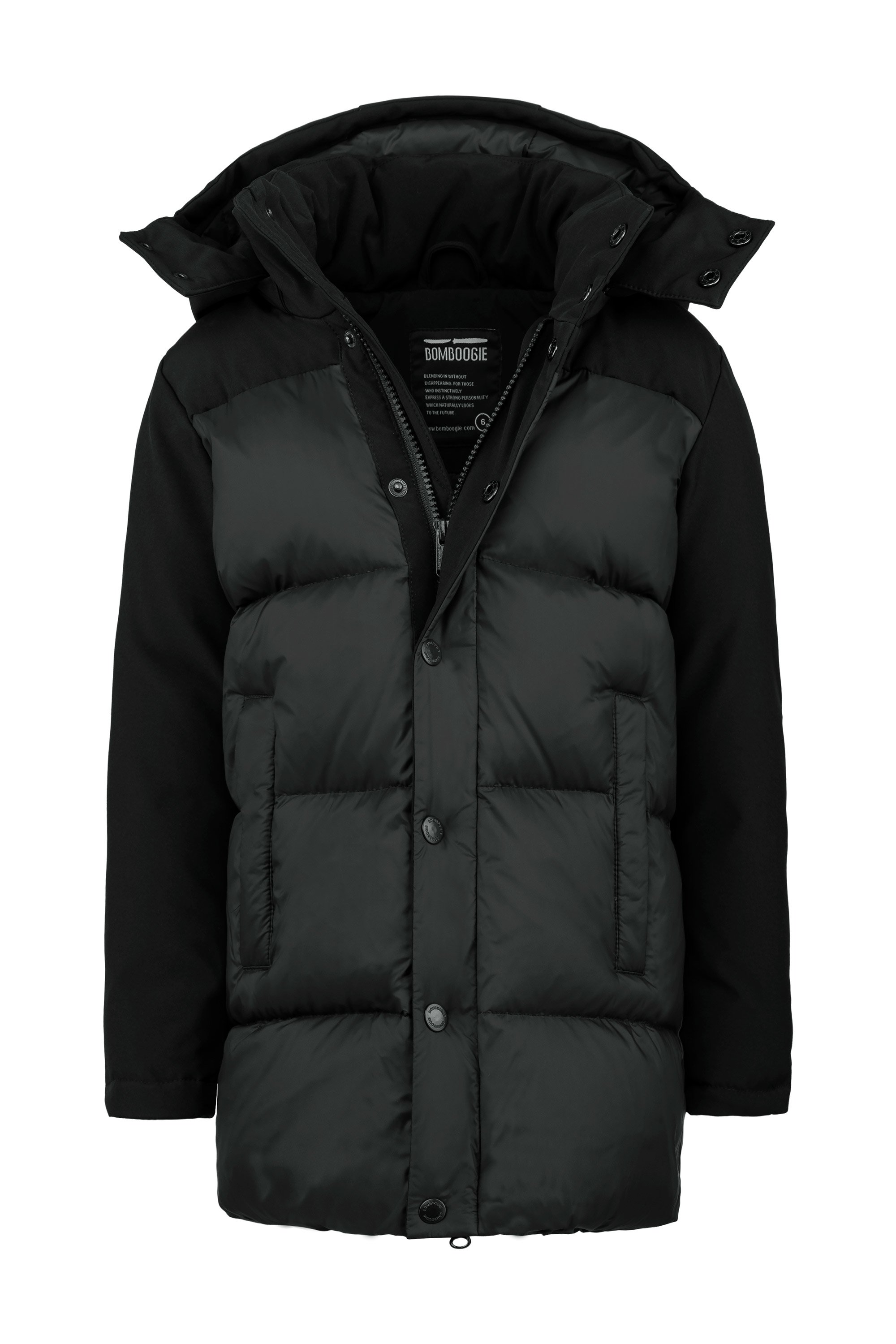 Bi material real down jacket