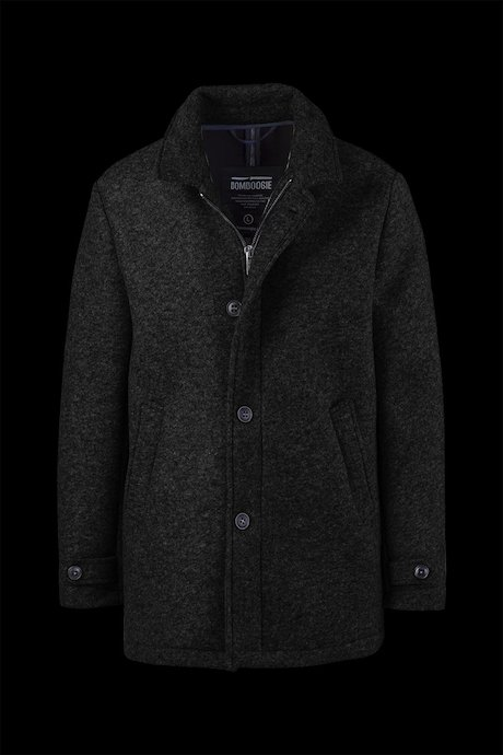Coat Woollen Melange with Buckle