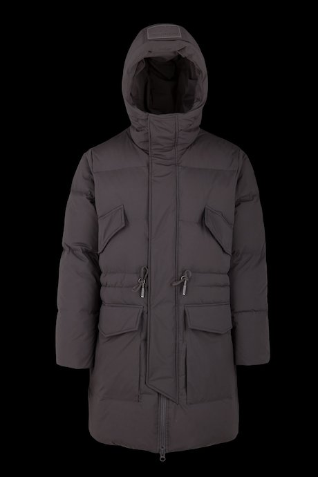 Multipocket long down jacket