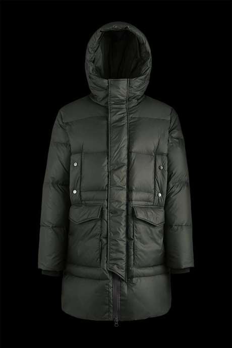 Long multipocket down jacket