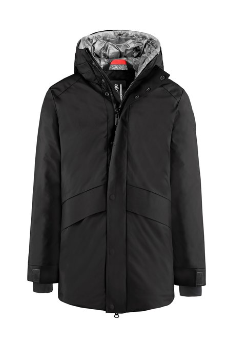 Real down padded coat with double-hood