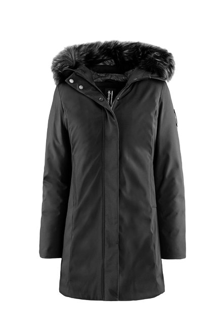 Down jacket with fax fur hood