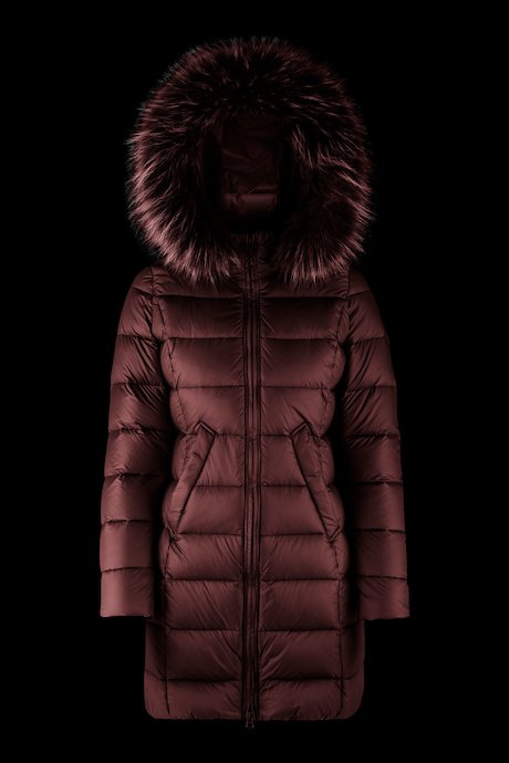 Long matt down jacket with fur inserts