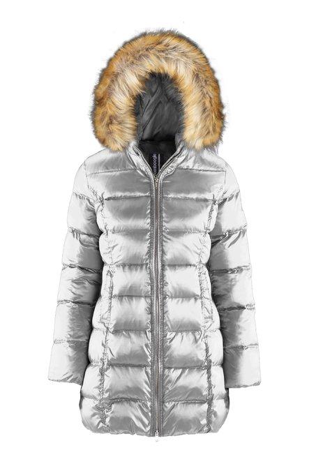 Down jacket in sateen nylon with faux fur hood