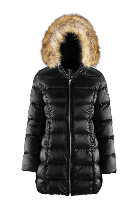 Shiny Down Jacket Faux Fur Inserts