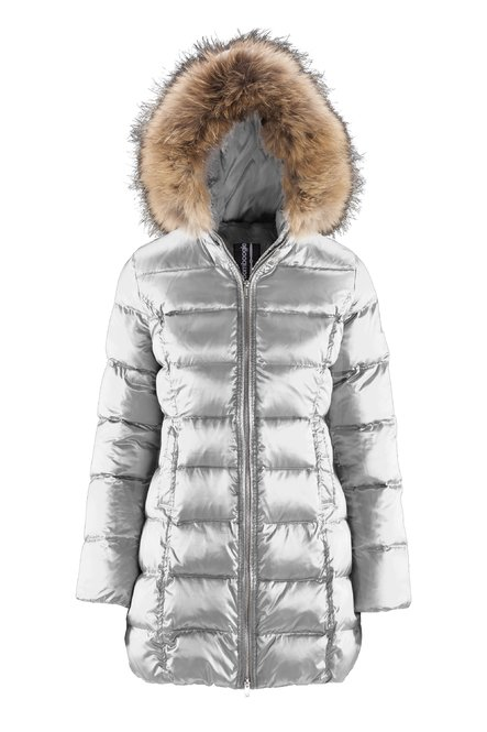 Down jacket in sateen nylon with fur hood