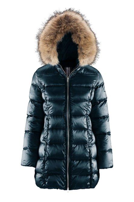 Down jacket in sateen nylon with fur hood
