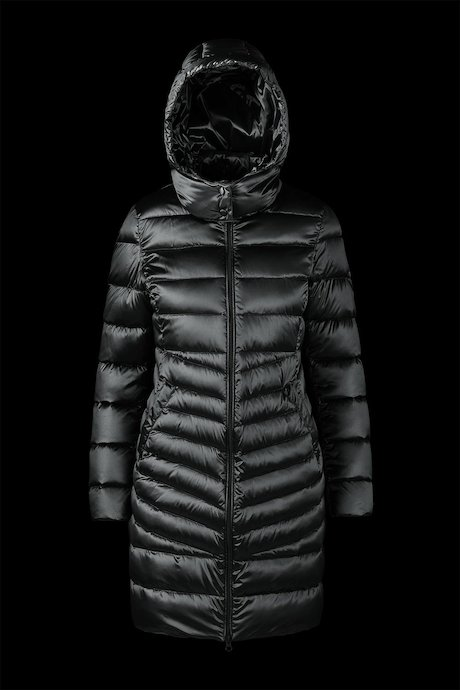 Long Shiny Down Jacket Detachable Hood