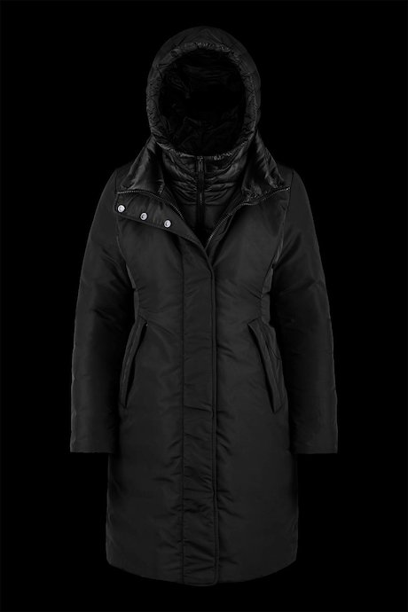 Bimaterial long down jacket with detachable hood