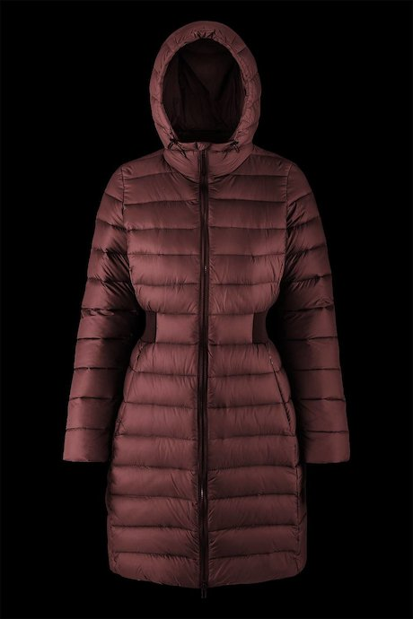 Long down jacket with elasticated waist