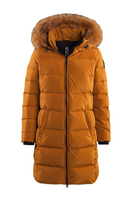 Recycled material down jacket with fur hood