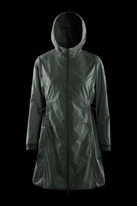 Parka with drawstring waist