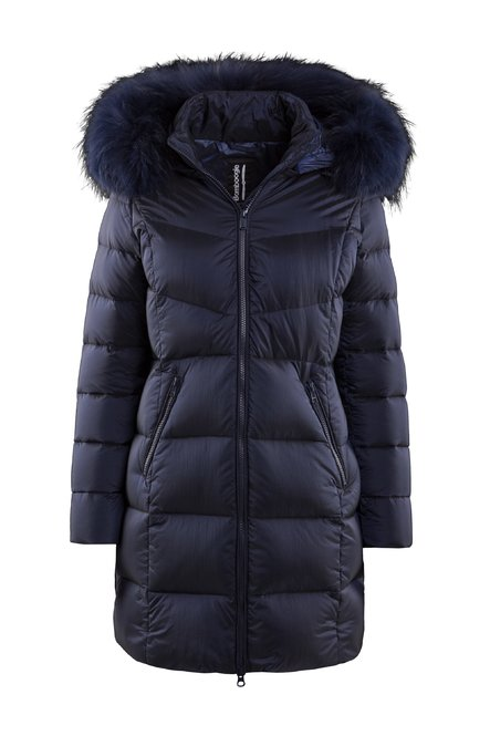 Down jacket in nylon Moiré fur hood profile