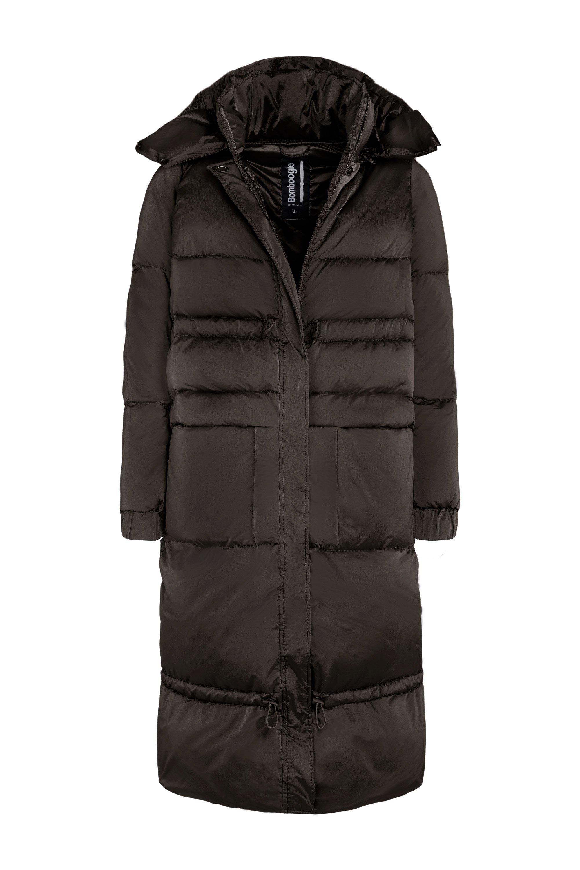 Oversized down jacket in nylon moiré