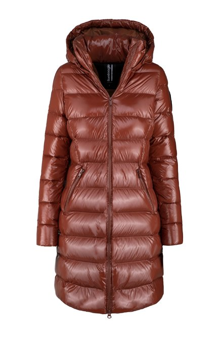 Long down jacket in nylon micro ripstop