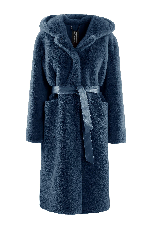 Faux fur long coat with belt