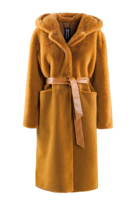 Faux fur long coat with belt