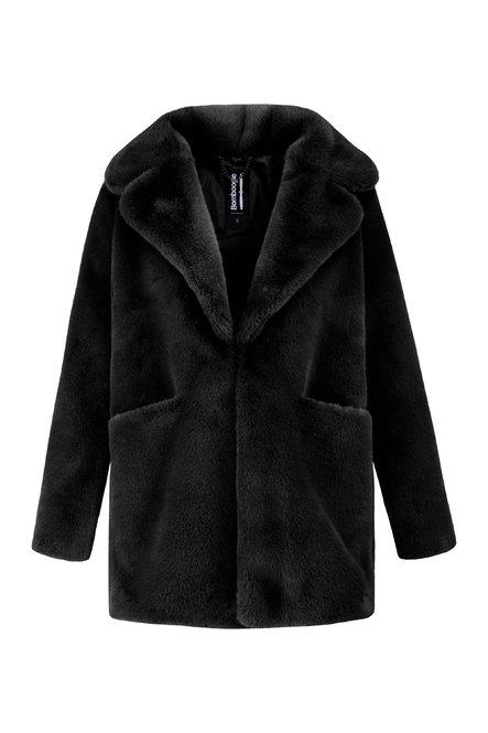 Short faux fur coat with revers