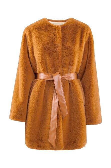 Faux fur coat with belt