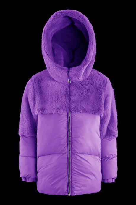 Down jacket faux fur inserts