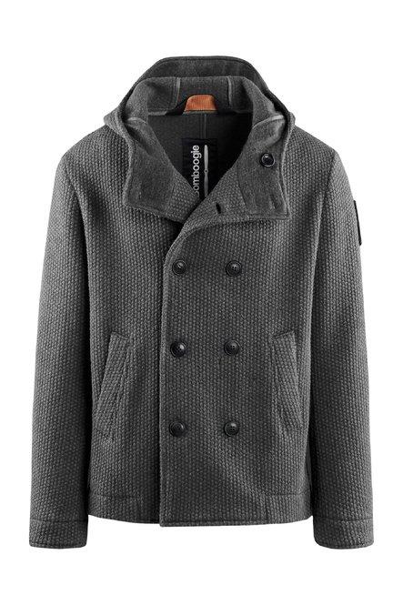 Kurzer Zweireiher Mantel aus gekochter Wolle