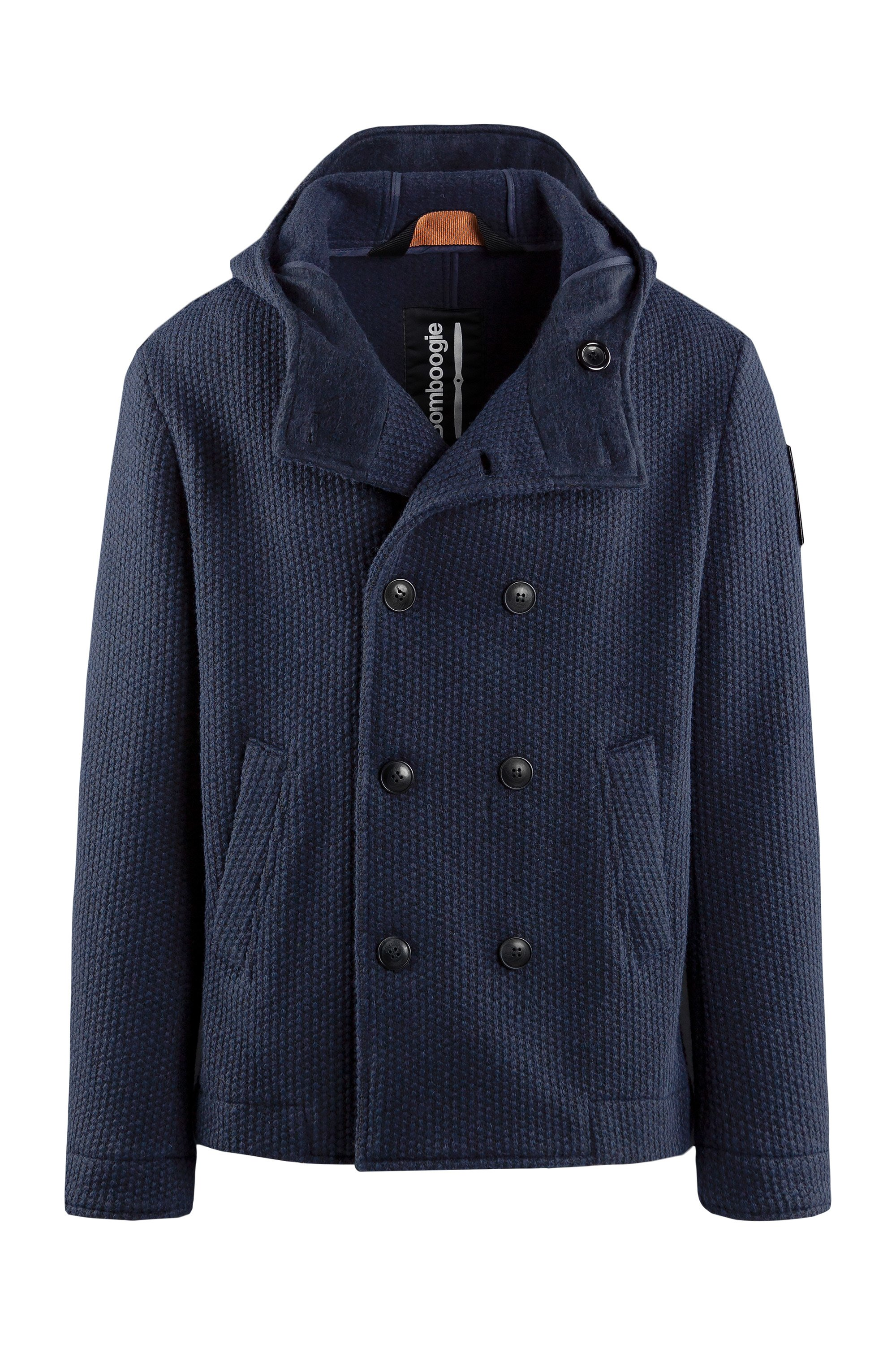 Short double-breasted coat in woven boiled wool