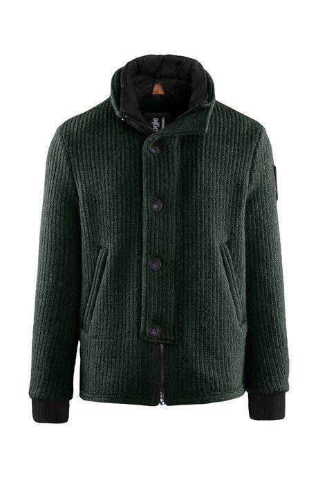 Kurzer Mantel aus gekochter Wolle mit breitem Kragen