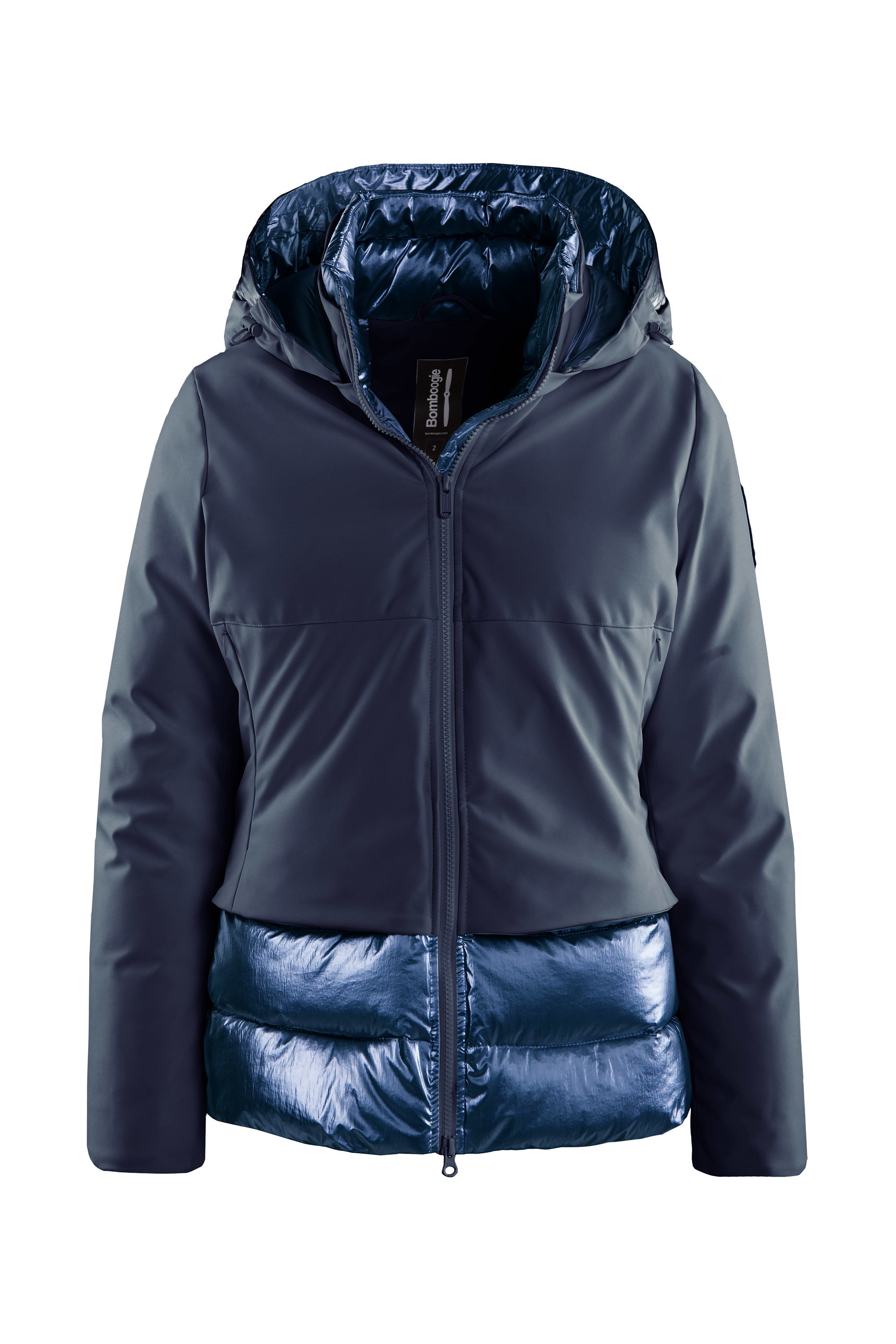 Short down jacket in metallic nylon 3M™ Featherless padding