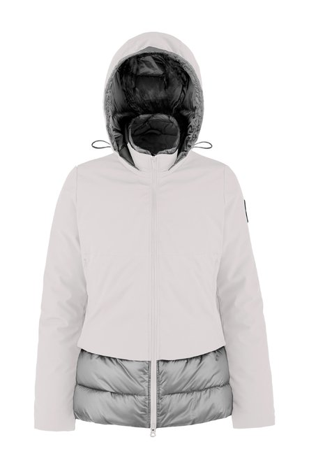 Bi-material down jacket with PrimaLoft® padding