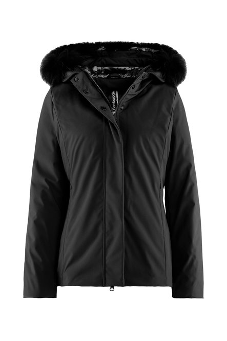 Down padded jacket faux fur hood profile