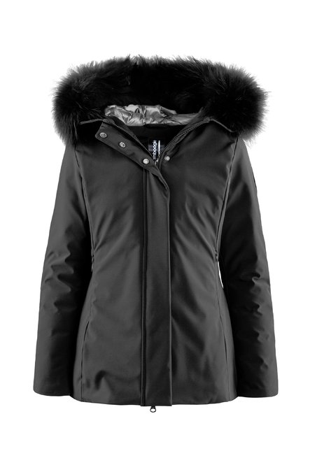 Down padded jacket fur hood profile