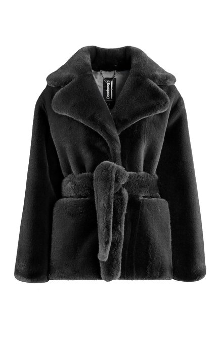 Faux fur short coat with belt