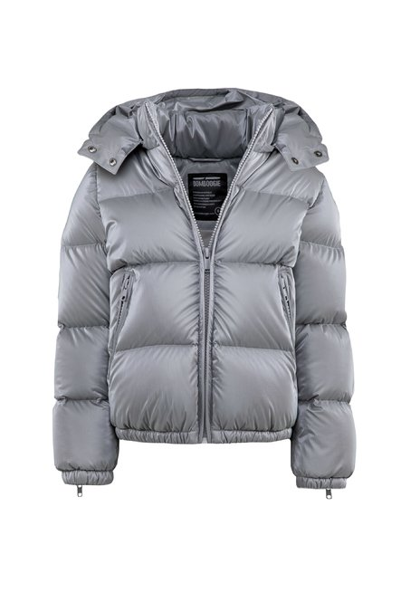 Real down jacket in shiny nylon