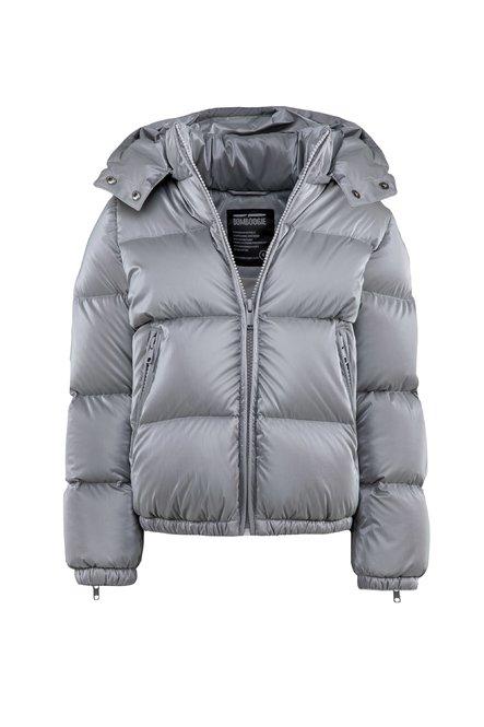 Real down jacket in shiny nylon