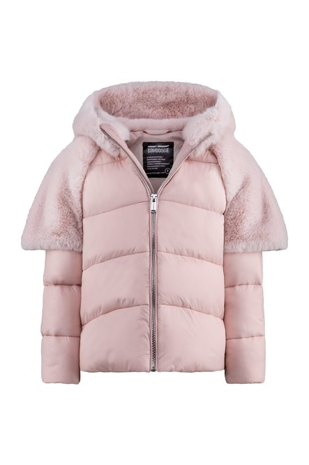 Bi material synthetic down jacket