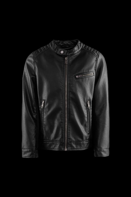 Boys' biker jacket in faux leather