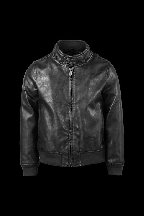 Faux Leather Bomber Two Buttons
