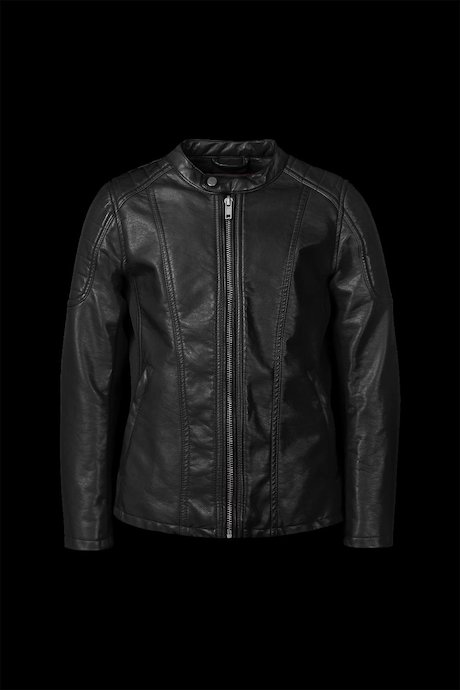 Bi-material faux leather jacket