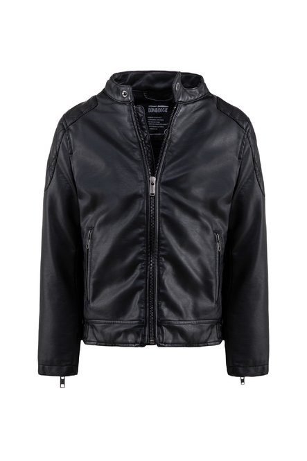 Boys' faux leather jacket nappa effect