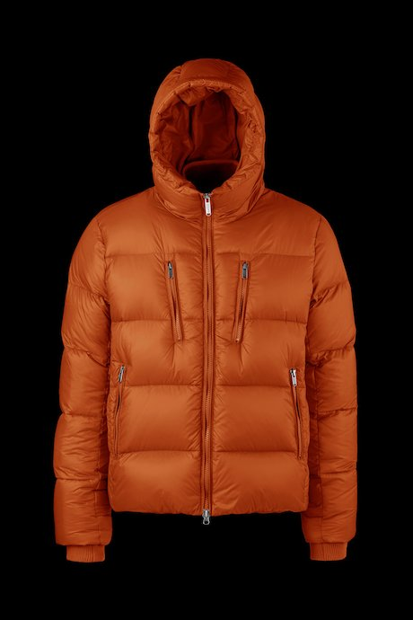 Man's semi-opaque down jacket with multipocket
