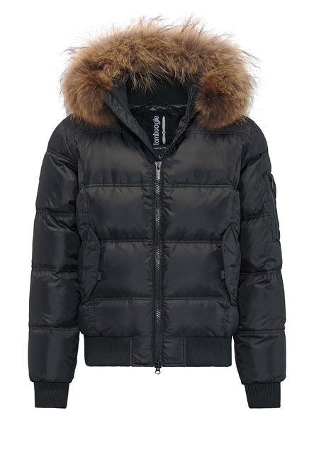Bomber with faux fur inserts