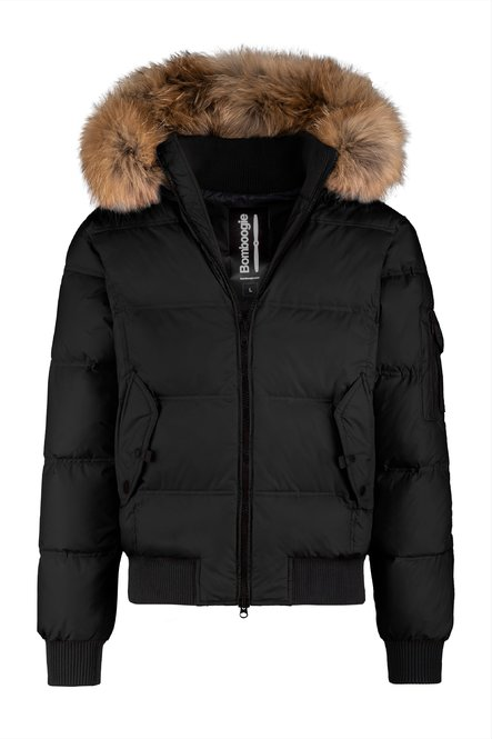 Real down bomber in nylon with fur hood