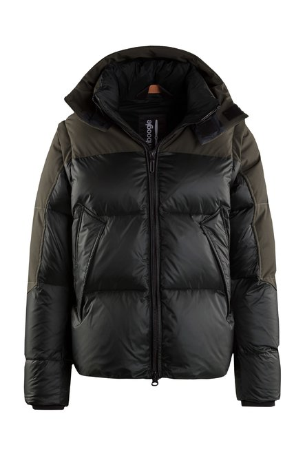 Bi material down jacket with detachable sleeves