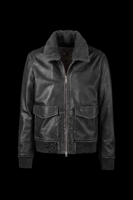 Leather Jacket Sheep Fur Collar