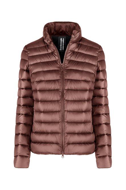 Short real down jacket in bright nylon