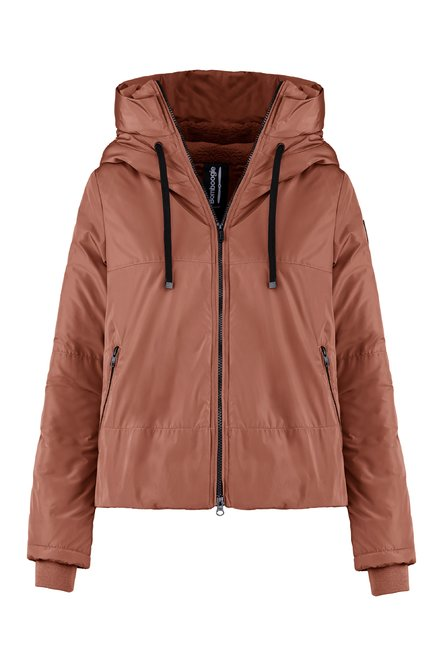 Short parka in recycled fabric with sherpa fleece filling