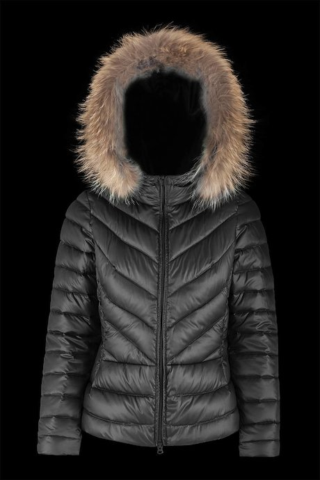 Short down jacket satin fabric with fur inserts